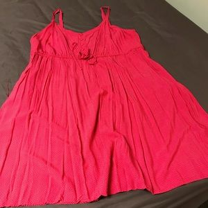 Bright pink torrid dress with white polka dots